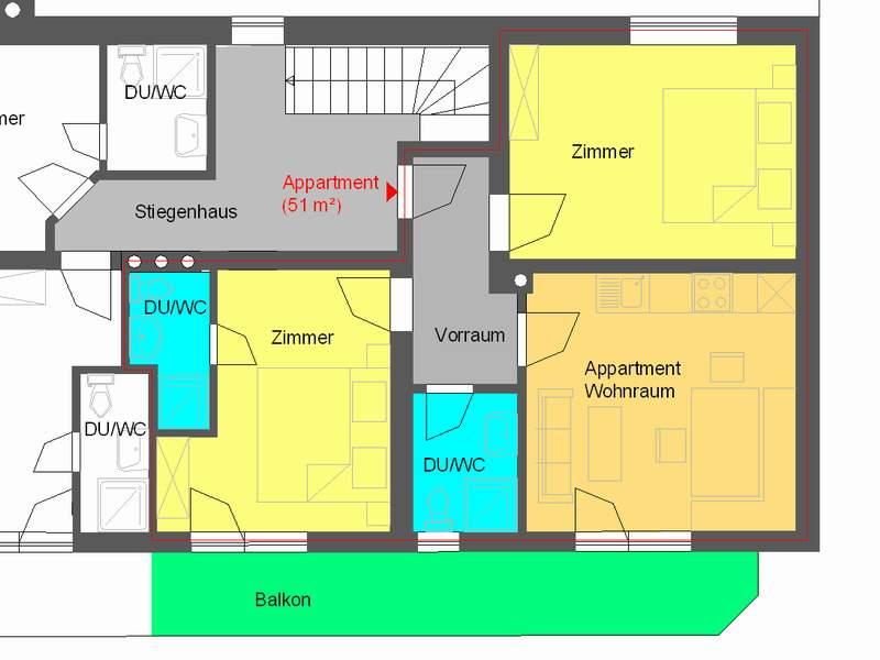 Appartement 1 im Grundriss