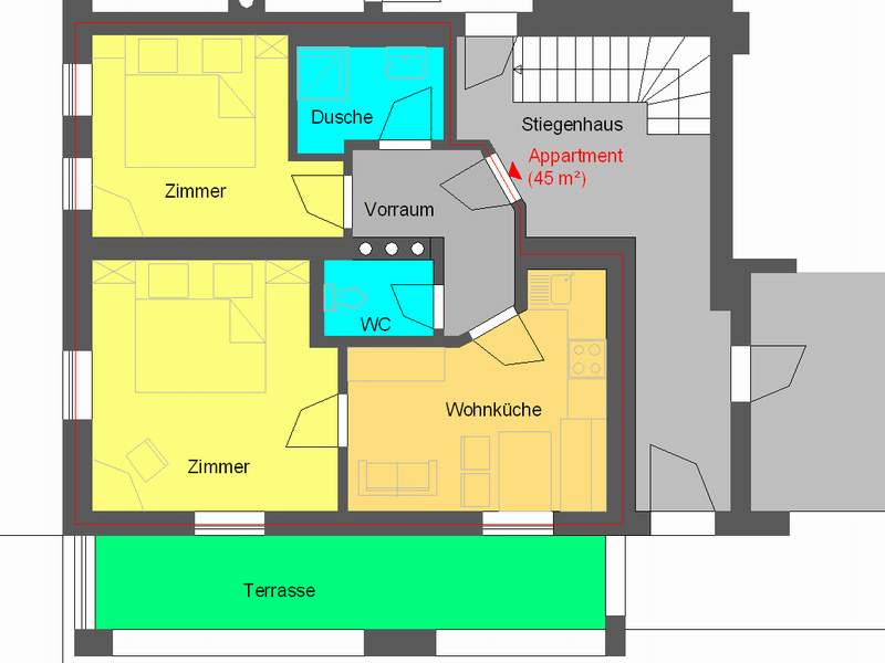 Appartement 2 im Grundriss